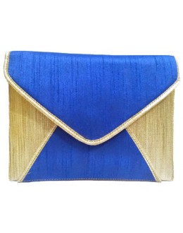 Designer Royal Blue Raw Silk & Jute Envelope Style Party Wear Hand Clutch -NS 54 ( SDF-DP)