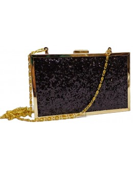 Designer Royal Glamorous Black & Golden Party Wear Hand Clutch-NS 86 ( SDF-DP )