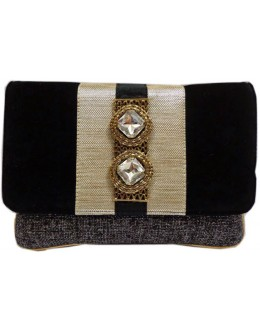 Designer Stylish Black Velvet With Jute Party Wear Hand Clutch -NS 29 ( SDF-DP)