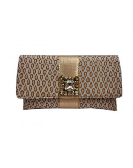 Designer Stylish Brocade Cream With Golden Party Wear Hand Clutch -NS 48 ( SDF-DP)