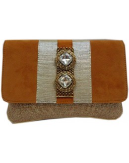 Designer Stylish Brown Velvet With Jute Party Wear Hand Clutch -NS 27 ( SDF-DP)