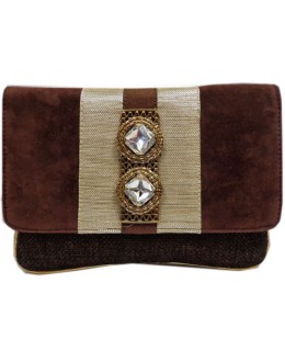 Designer Stylish Dark Brown Velvet With Jute Party Wear Hand Clutch -NS 30 ( SDF-DP)