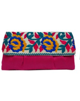 Designer Stylish Embroidered Pink Fancy Party Wear Hand Clutch -NS 18 ( SDF-DP)