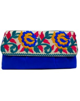 Designer Stylish Embroidered Royal Blue Fancy Party Wear Hand Clutch -NS 20 ( SDF-DP)