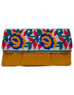 Designer Stylish Embroidered Yellow Fancy Party Wear Hand Clutch -NS 19 ( SDF-DP)