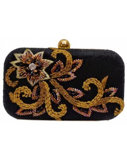 Designer Adorable Black Velvet Heavy Worked Box Type Party Wear Hand Clutch-SB 6 ( SDF-DP )