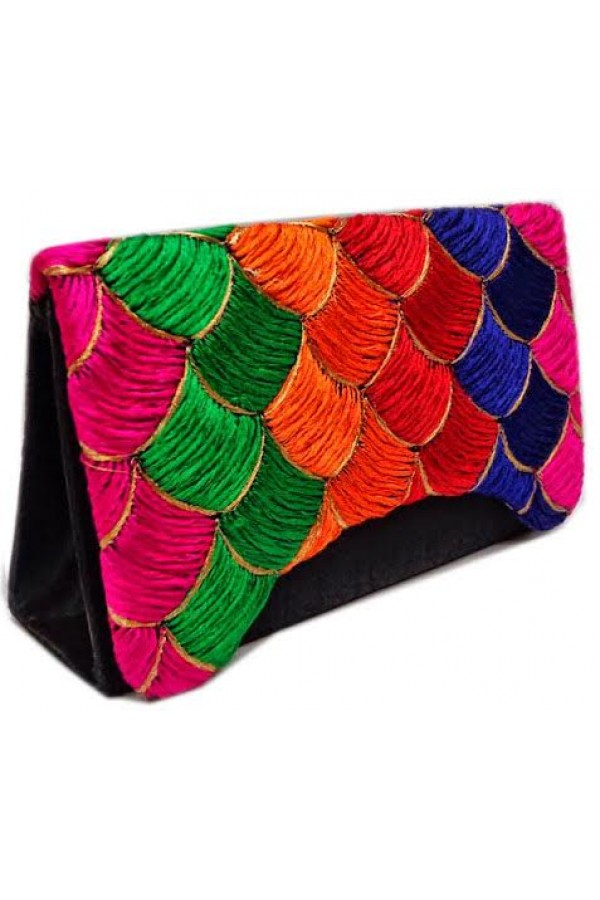 Designer Heavy Worked Black With Multi Color Party Wear Hand Clutch-SB 1 ( SDF-DP )
