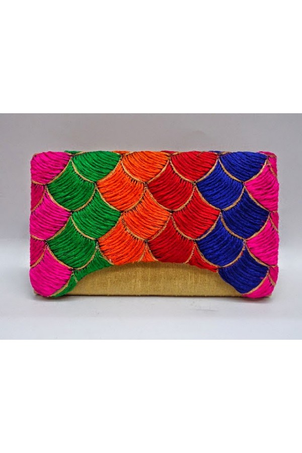 Designer Heavy Worked Golden With Multi Color Party Wear Hand Clutch-SB 4 ( SDF-DP )