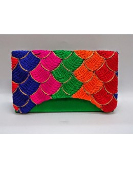Designer Heavy Worked Green With Multi Color Party Wear Hand Clutch-SB 5 ( SDF-DP )