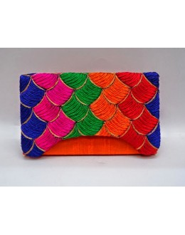Designer Heavy Worked Orange With Multi Color Party Wear Hand Clutch-SB 2 ( SDF-DP )
