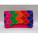 Designer Heavy Worked Pink With Multi Color Party Wear Hand Clutch-SB 3 ( SDF-DP )