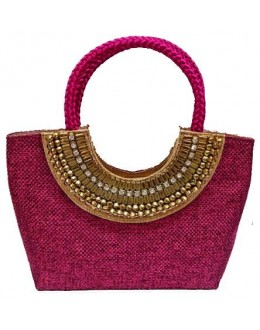 Designer Pink Heavy Worked Jute Party Wear Hand Bag-SB 9 ( SDF-DP )