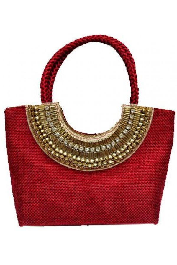Designer Red Heavy Worked Jute Party Wear Hand Bag-SB 10 ( SDF-DP )
