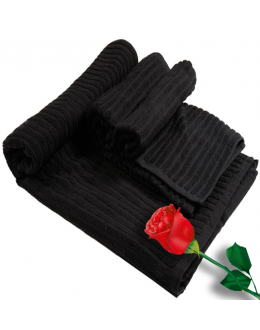 Jackard Strip Black Hand & Bath Towel Combo Set
