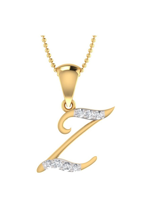 Bright Fashion 92.5 Sterlling Silver Pendant, Beautiful `Z` Shape Pendant - (PD-00802)