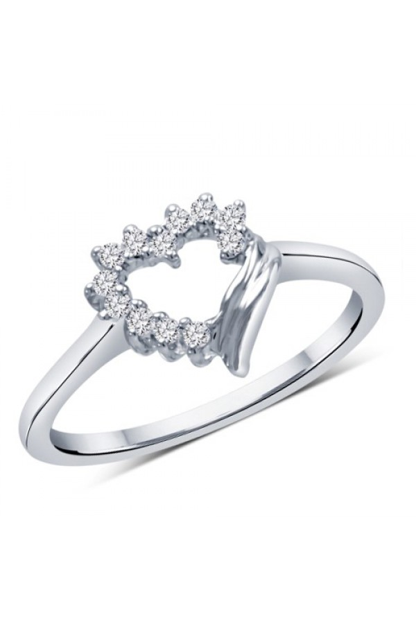 Bright Fashion 92.5 Sterlling Silver Classic Heart Ring - (RPEH-5)