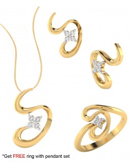 Bright Fashion 92.5Kt Sterlling Silver Family Curve Set - (SET-02547)