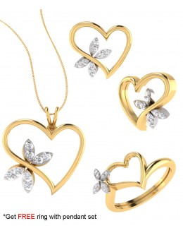 Bright Fashion 92.5Kt Sterlling Silver Family Heart Set - (SET-02535)