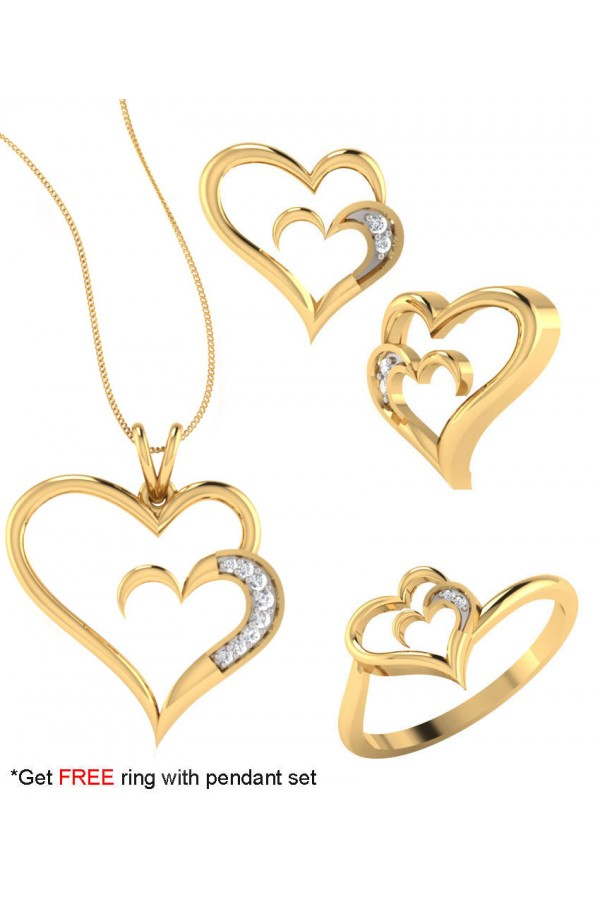 Bright Fashion 92.5Kt Sterlling Silver Family Heart Set - (SET-02536)