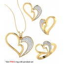Bright Fashion 92.5Kt Sterlling Silver Family Heart Set - (SET-02537)