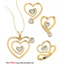 Bright Fashion 92.5Kt Sterlling Silver Family Heart Set - (SET-02539)
