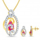 "Bright Fashion 92.5Kt Sterlling Silver ""Parineeta"" Set - (SET-02078Y)"