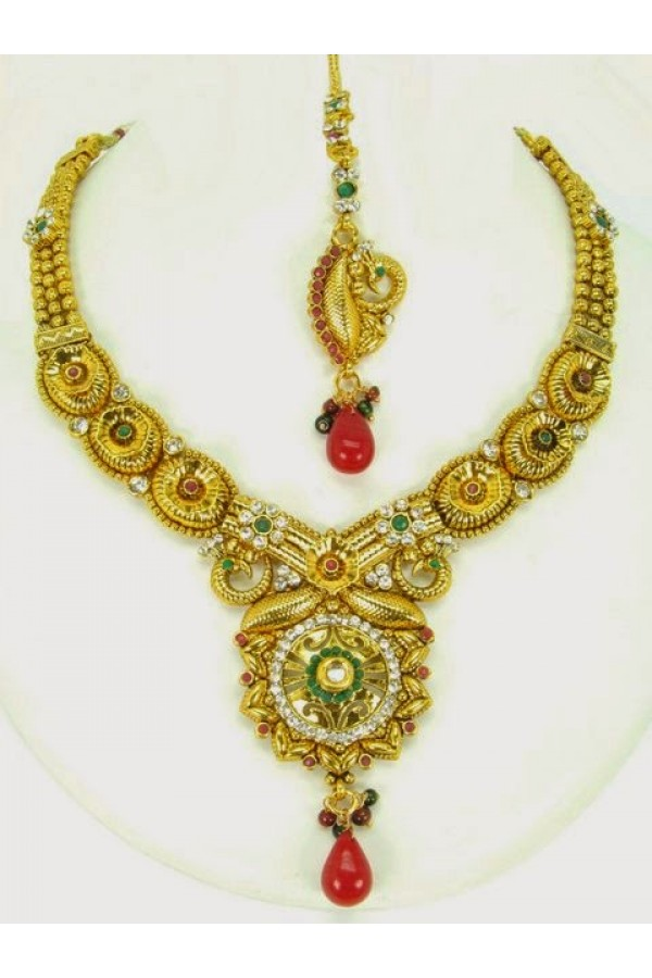 Peacock Polki Necklace Sets with Mangtika & Earrings - 68031