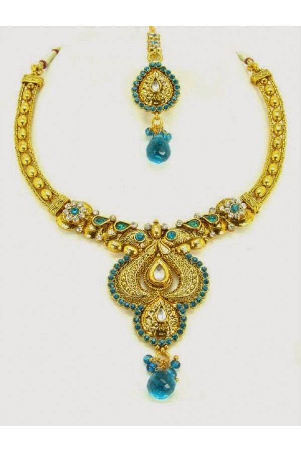 Peacock Polki Necklace Sets with Mangtika & Earrings - 68173