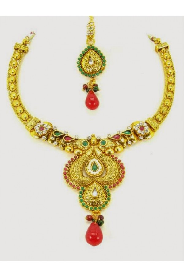 Peacock Polki Necklace Sets with Mangtika & Earrings - 68175