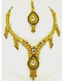 Peacock Polki Necklace Sets with Mangtika & Earrings - 68757