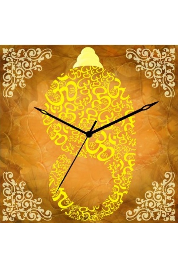 Wooden Wall Clock - Typography Ganesha