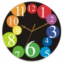 Wooden Wall Clock - Colored Numbers GLWD083