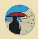 Wooden Wall Clock - Man With Umbrella GLWD004