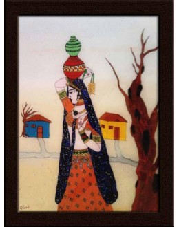 Wall Painting Of Lady with Water Pot - GDCPGL0055