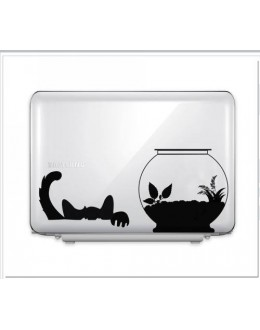 LAPTOP STICKER - Cat With Fish Pot