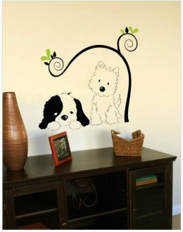 Wall Sticker of Cat and Dog