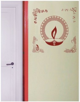 Wall Sticker of Colorful Diya