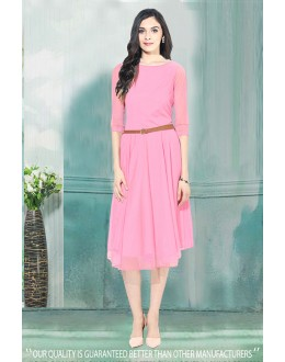 Fancy Readymade Pink Western Wear Dress - 30005