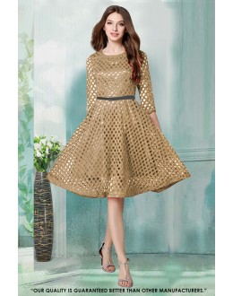 Party Wear Readymade Beige Western Wear Dress - 30038