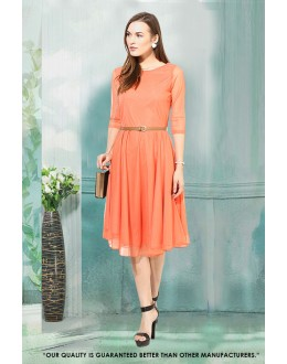 Orange Readymade Net Western Wear Dress - 30054