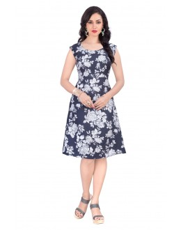 Fancy Wear Readymade A-Line Floral Print Black Western Dress - 30094