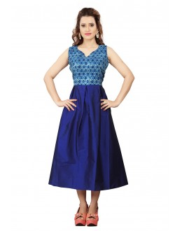 Party Wear Readymade Blue Colour Western Wear Dress - 30104