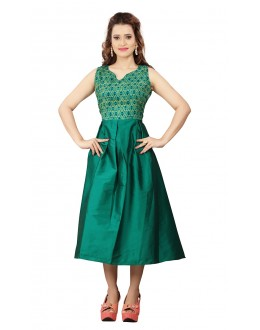 Party Wear Readymade Green Colour Western Wear Dress - 30106