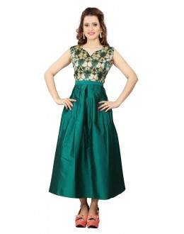 Party Wear Readymade Green Colour Western Wear Dress - 30108