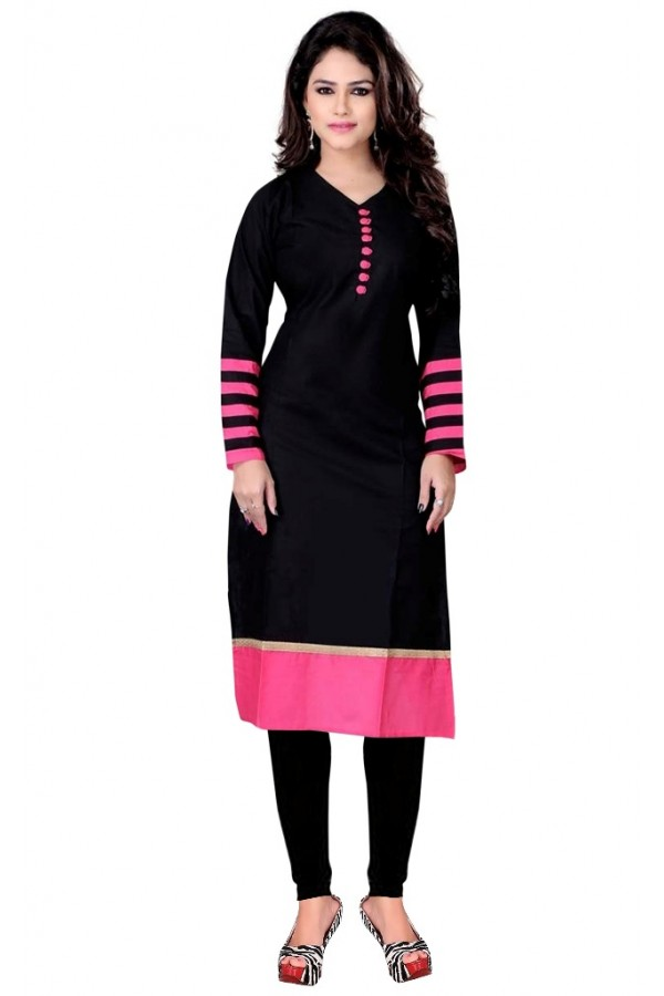 Casual Wear Cotton Black Kurti - 50021