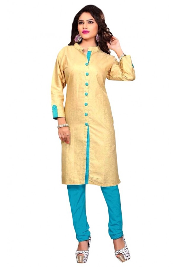 Casual Wear Cotton Cream & Blue Kurti - 50029