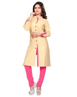 Casual Wear Cotton Cream & Pink Kurti - 50027