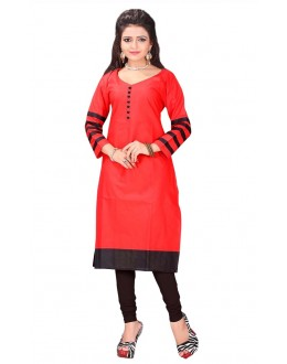 Casual Wear Cotton Red Kurti - 50019