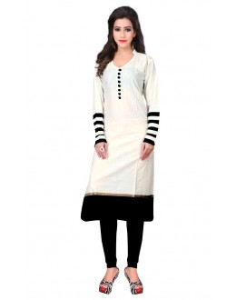 Casual Wear Cotton White Kurti - 50020