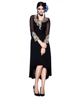 Party Wear Georgette Black Kurti - 50004